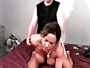 Stunning big tit mature woman makes her man hard with her big tits, sucks his dick till it squi...
