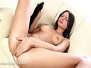 Brunette Monika Benz gets naked to rub and toy her wet pussy