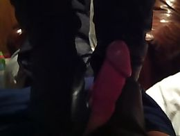Olivia stood on top of my body trampling my cock to a pulp making me precum all over her boots.
