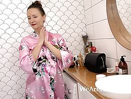 Solena Sol takes off her robe and panties, and gets in her tub to enjoy her bath. She gets all ...