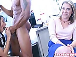 Wild babes cocksucking stripper before he pussy fucks colleague