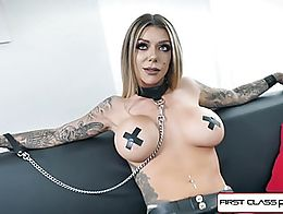 Pornstar Instagram celebrity Karma Rx is ready to take a mouth full of cock and strips down in ...