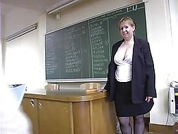 This French Maths teacher doesn't hesitate to excite her students to get banged in the classroo...