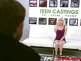 Teen beauty banged and facialized at brutal casting