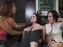 Lesbian Sisters licks MOMs beautiful FEET