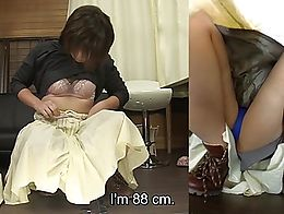 Real deal Japanese pee desperation featuring a cute amateur college student with short hair who...