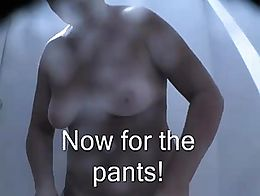 A mature woman strips naked in the cabin unaware we can see her nude! With captions!!