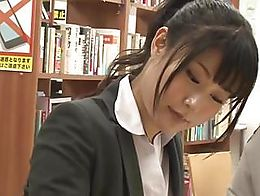 Asian schoolgirl makes teacher lick her pussy in the library.