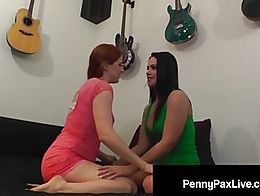 Precious Red Head Penny Pax & Lovely Lesbian Roxy Raye get their assholes stuffed by a big ...
