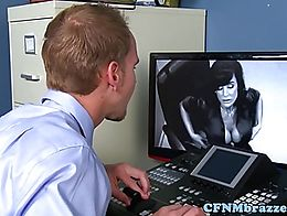 Huge titted CFNM office femdoms humiliate voyuer security guy in trio