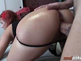 Horny redhead sucks cock before getting fucked