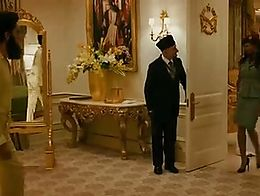 Sasha Baron Cohen as Efawadh (dictator Aladeen) and group of his bodyguards