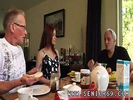 Amateur teen facefuck Minnie Manga slurps breakfast with John David.