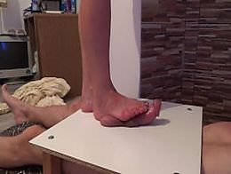 Cock balls under foot -footjob massage crushing