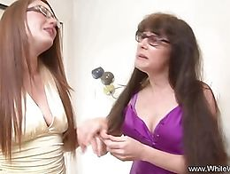 Anal threesome for these two sisters with glasses. They try some big black cock and get fucked ...