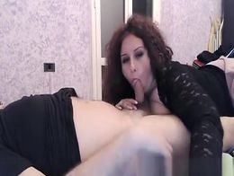 Huge natural soft tits woman takes her man's cock out and starts blowing it and rubbing he...