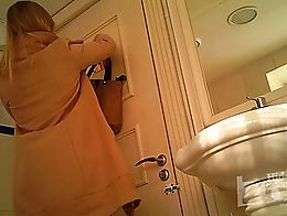 Spy cam in the toilet, shaved pussy anus closeup