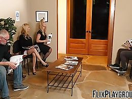 Two gorgeous sluts have kinky family roleplay fuck session with awesome pussy licking and grind...
