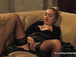 Naughty mistress in black lingerie masturbating her pussy and reaching orgasm while watching tw...