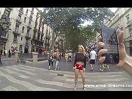 Flashing my huge tits in public in las Ramblas de Barcelona