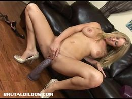 Beautiful Allison Pierce sucking fucking brutal dildos