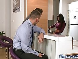Busty euro double penetrated and doggystyled by two huge cock