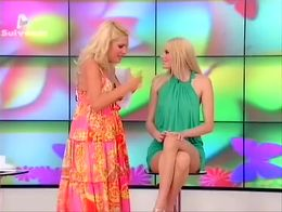 Gorgeous blonde model was giving an interview for the greek television and at one point she sto...