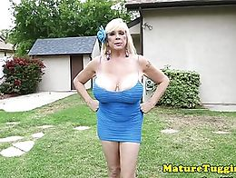 Faketitted granny wanking cock outdoors and tittyfucking
