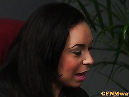 Busty cfnm femdom cumsprayed on boobs after tugging and sucking client