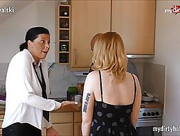 This old dude gets an amazing blowjob from his au pair and fucks is wife in kitchen. This is ju...
