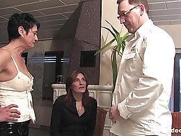 Shameless bisexual german milfs licking their cunts and fucking a hard cock in threesome. Watch...