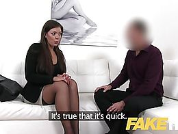 Fake Agent Smartly dressed brunette sucks and fucks casting agent on white leather sofa