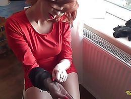 Vixen's handjob was so good the guy spewed out a wad of cum on her silky smooth nylons whi...