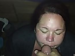 My whore gets a good blast of cum all over her face.