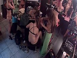 Bunch of strippers hanging out in the dressing room