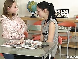 Sexual lesbian students pleasing their slick quims with a dildo in the classroom. Watch amazing...