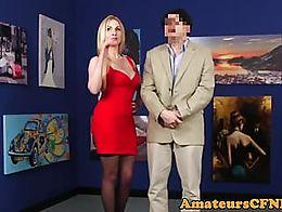Domina stroking cock in public during kinky CFNM scene