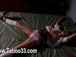 Toying pleasuring with bdsm dildos