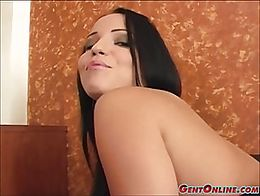 Busty raven slut, Laura Lion, sits on her lovers cock and gets bonked hard! Her big tits going ...