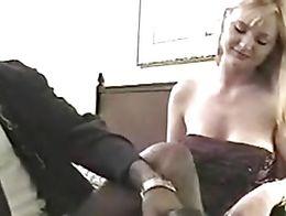 A gorgeous white woman fucking a black guy.