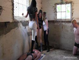 Stable boy massacre (3 girls trampling ballbusting slaves)