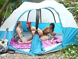 Four teen besties fucked by camping counselor in the woods
