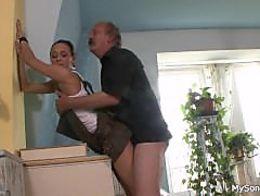 Father in law licks fucks son's girl