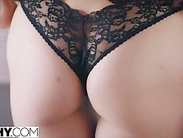 Jillian and Jaye dress in sensational black and white lingerie and after Jillian blindfolds the...