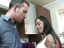 Busty stepdaughter is feeling horny and takes advantage of stepdad´s big hard cock and squeeze...