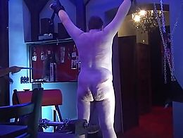 Black BBW femdom mistress with big tits whipping guy