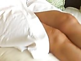 mom relaxes in her robe and forgets the family can catch glimpses of he naked - let's enjoy thi...