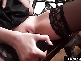 Sarah is a girl who is always horny. This cute pale slut with her long legs loves to play with ...