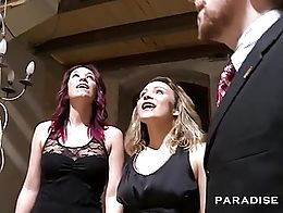 Two German chicks with hot bodies give amazing oral action to one lucky dude. Hot redhead and b...