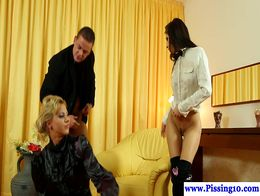 Piss loving euro babe drenched in pee